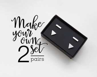 Set of 2 stud earrings / hypoallergenic earrings / geometric earrings / Valentine's gift / surgical steel studs / gift for her