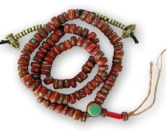 Traditional Tibetan Embedded Yak Bone Mala 108 Beads with Brass Counters BM-30