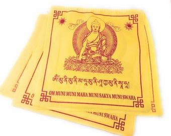 Tibetan handmade Buddha Shakyamuni prayer flags solid yellow color