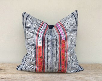 "Vintage Ethnic Hmong Homespun Oganic Hemp Batik Hand Woven Pillow Case 20"" x 20""  Pieces Of Tribal Costume eco friendly"