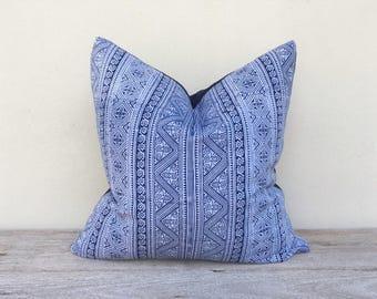 "Tribal Tradition Design Ethnic Indigo blue Hand Print Cotton Cushion Pillow Cover 18"" x 18"" Reverse made of indigo hemp pillow case"