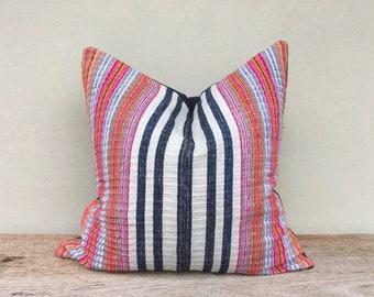"Stripe Pillow Case Nature Hemp Hand Woven  A Piece Of Vintage Tribal Textile 20"" x 20"" Reverse Made Of  Organic Hemp"