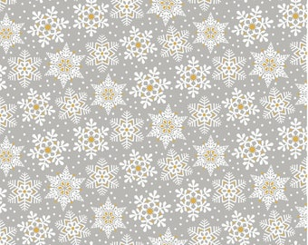 Snowflake Waltz - Land of Snow in Grey by Maude Asbury for Blend Fabrics