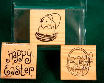 Lot of 3 Craft Smart Easter Rubber Stamps New and USED