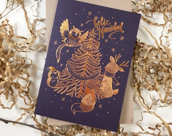Christmas Card - Furry Navidad - 10 Copper Foil Greeting Cards