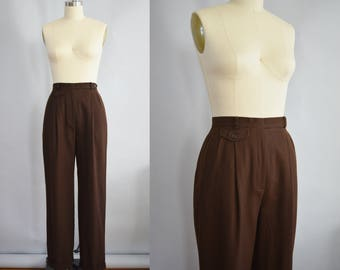 Chestnut Brown Wool Slacks | Ralph Lauren | Vintage 1990s
