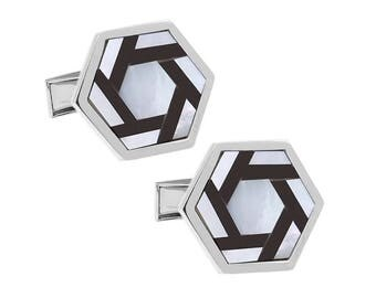Hexagon Black & White Shell Cuffs