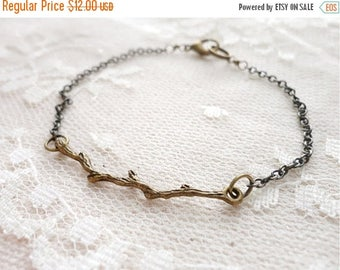 25% OFF SALE Branch / twig bracelet, delicate and whimsical, antiqued bronze tone, Woodland Magic