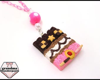 Cake and Candy Castle Necklace, Kawaii, Cake Necklace, Chocolate, Strawberry, Vanilla