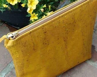 Cork/Kork/Cork Make Up Bag/Vegan Leather/Cork Leather/Cosmetic Bag/Cork Clutch.