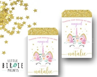 Unicorn Favor Tags Unicorn party favor tags Unicorn birthday party Unicorn party printable Unicorn first birthday party Gold Unicorn