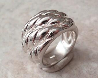Sterling Silver Band Ring Basket Weave Milor Italy Size 7 Vintage CW0301