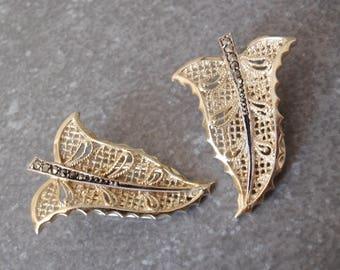 Gold Leaf Earrings Marcasites 835 Silver Vintage 032917BT