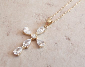 Cubic Zirconia Cross Necklace Sterling Silver Vermeil Italy Vintage V0597