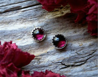 Garnet Stud Earrings 5mm Sterling Silver Red Stone Gemstone Post 925 Jewelry January Birthstone