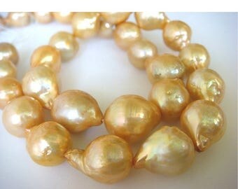 ON SALE 55% Natural Baroque Pearls - Natural Baroque Salt Water Pearls - Natural Golden Color - 4 Pieces - Approx 10mm Each