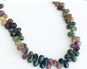 ON SALE 55% Multi Tourmaline Teardrop Beads, Raw Multi Tourmaline Briolette Beads, 5x8mm - 6x9mm, 5 Inch, 40 Pcs - KS3159