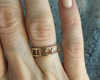 Custom Yellow Gold Roman Numeral Ring - 14k, 18k Yellow Gold. Personalized Jewelry. Custom Name, Date, Symbol, Number. Wedding & Anniversary