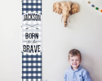 "Custom/ Personalized Navy Plaid ""Born to be Brave"" canvas growth chart - perfect for boy nursery decor or baby shower gift!"