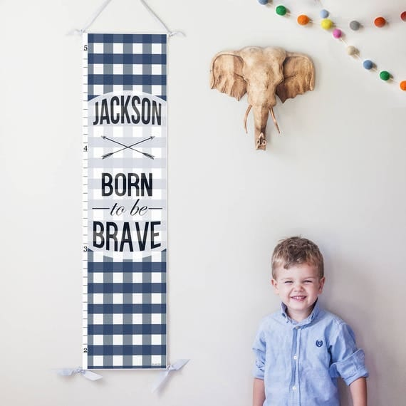 "Personalized Navy Plaid ""Born to be Brave"" canvas growth chart"