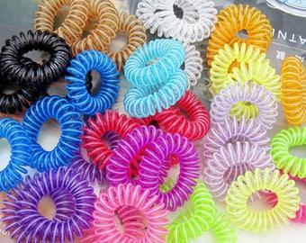 50 Telephone wire hair ties, Telephone wire headbands, Telephone Cord Hair band, plastic hair ties, ponytail holders, telephone hair holders