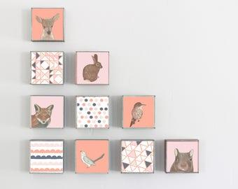 woodland nursery decor, choose 10 designs, forest nursery decor, animal prints, geometric prints, rabbit, deer, fox, redtilestudio, woodland