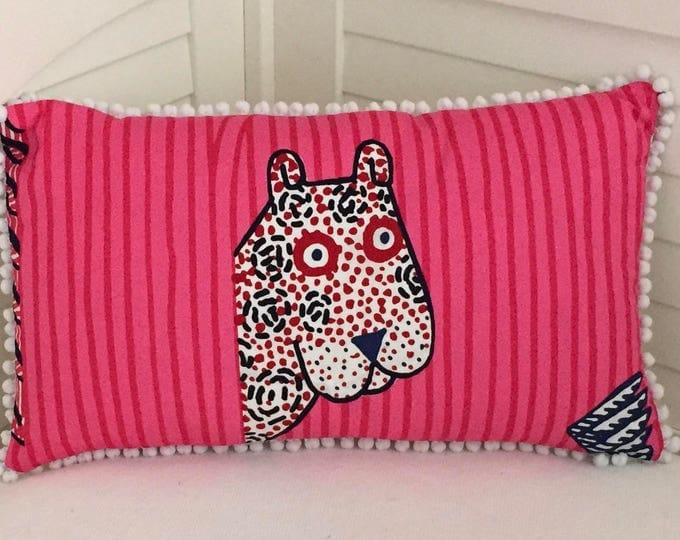 Marimekko Jungle Print in Pink Designer Lumbar Pillow with Small White Pom Pom Trim, 12 x 20, FREE SHIPPING