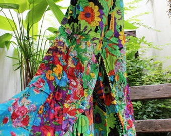 PATCHWORK Floral Printed Cotton Boho Gypsy Wide Leg Pants - OMP1708-07