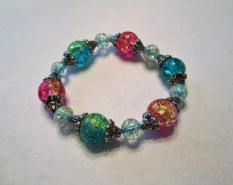 Beaded bracelet, glass and metal beads, colors as shown