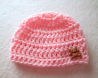 Baby hat, hand crocheted, teddy bear button, choose size