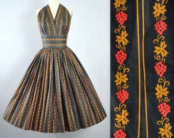 Vintage 50s Dress / 1950s Cotton Sundress NOVELTY PRINT Fruit Berry Leaf Stripes Halter Top Full Circle Skirt Pinup Garden Party XS Small