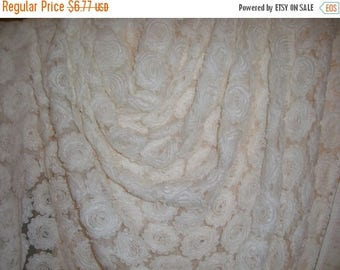 ON SALE SPECIAL--Winter White Tulle on Embroidered Tulle Fabric--One Yard