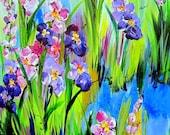 Purple Iris Original Painting Landscape art 18 x 24 Art by Elaine Cory