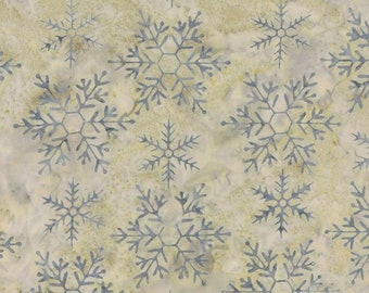 Snowbird Batiks by Laundry Basket Quilts - Blue Snowflakes in Stone (42180-163) - Moda - 1 Yard