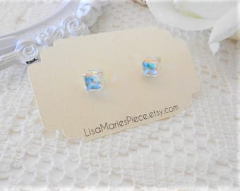 SMALL Cube, Swarovski Crystal Aurora Borealis Stud Earrings, Cubist Studs, Swarovski Cube, Cube Earrings, Swarovski Earrings, Swarovski Stud