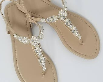 Beach wedding shoes etsy ivory wedding sandals with pearls and crystals ivory bridal sandals destination wedding sandals beach wedding sandals junglespirit Images