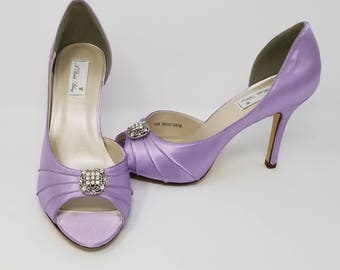 Iris Purple Wedding Shoes Iris Bridal Shoes with Crystal Square Design Iris Purple Bridesmaids Shoes  PICK FROM 100 COLORS Bridesmaid Shoes