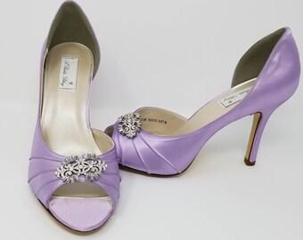 Iris Purple Wedding Shoes Iris Bridal Shoes with Crystal Art Deco Design Iris Purple Bridesmaids Shoes  PICK FROM 100 COLORS