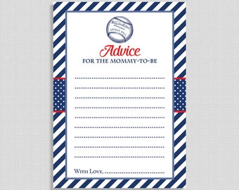 Advice For The Mommy to Be Printable Cards, Baseball Baby Shower Activity, Baby Boy, Red, White & Blue, INSTANT DOWNLOAD