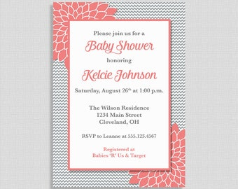 Coral and Grey Baby Shower Invitation, Grey Chevron Baby Shower Invite, Coral Mums, Gender Neutral, DIY PRINTABLE