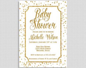 White and Gold Baby Shower Invitation, Gold Glitter Confetti Baby Shower Invite, Gender Neutral, DIY PRINTABLE
