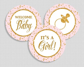 Pink Baby Shower Cupcake Toppers, Welcome Baby, It's a Girl, Pacifier, Gold Glitter Confetti, DIY Printable, INSTANT DOWNLOAD