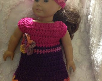 Hot Pink purple doll dress hat set with flower detail for America girl bitty baby reborn next generation crochet dress clothing