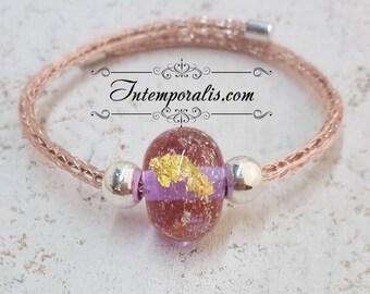 Bracelet tissé et perle en verre de Murano rose et or filée au chalumeau, OOAK, SABRVI11