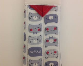 """Cats Quilted Snap Eyeglasses Case Handmade 3"""" x 6-1/4"""""""