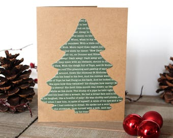 Handmade Christmas Card, Twas the Night Before Christmas Poem, Tree, Brown Craft Paper, One of a Kind, Free US Shipping, Blank Inside
