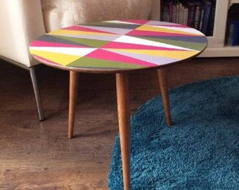 Unique Hand Painted Geometric Design Retro Table - Collection only from CW3