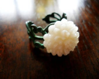 Ivory Mum Verdigris Patina Filigree Ring, Adjustable