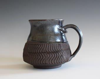 Stoneware Pottery Mug, 18 oz, Coffee Mug, handthrown ceramic mug,  unique coffee mug, stoneware mug, coffee mug pottery, pottery mug