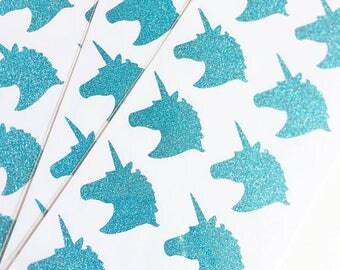 EXCLUSIVE**Unicorn Blue Glitter Sticker (20 Stickers per pkg.)